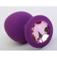 Пробка силиконовая фиолетовая с розовым стразом 9,5х4см 47407-2MM