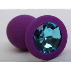 Пробка силиконовая фиолетовая с голубым стразом 9,5х4см 47406-2MM