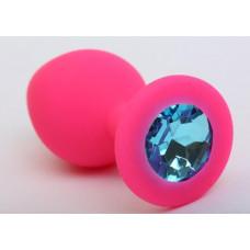Пробка силиконовая розовая с голубым стразом 8,2х3,5 47405-1MM