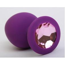 Пробка силиконовая фиолетовая с розовым стразом 8,2х3,5см 47407-1MM
