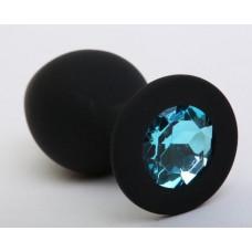 Пробка силиконовая черная с голубым стразом 9,5х4см 47408-2MM