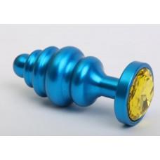 Пробка фигурная металл 7,3х2,9см синяя с желтым стразом 47428-9MM