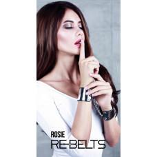Наручники черные с зеркальным элементом Rosie Black 7733rebelts