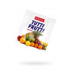Съедобная гель-смазка TUTTI-FRUTTI для орального секса со вкусом экзотических фруктов ,4гр по 20 шт в упаковке