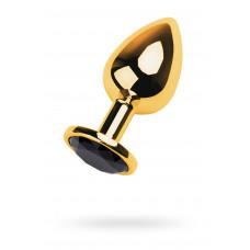 Анальный страз Metal by TOYFA, металл, золотистый, с кристаллом цвета турмалин, 8 см, Ø 3,4 см, 85 г