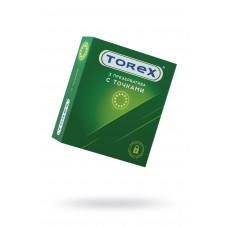 Презервативы точечные TOREX  латекс, №3, 18 см
