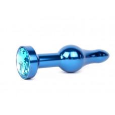 Удлиненная шарикообразная синяя анальная втулка с голубым кристаллом - 10,3 см.