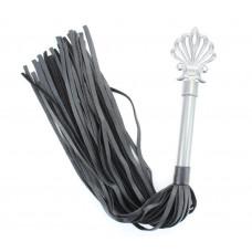 Черная плеть из кожи Gray с серебристой ручкой - 64 см.
