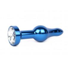 Удлиненная шарикообразная синяя анальная втулка с прозрачным кристаллом - 10,3 см.