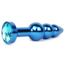 Удлиненная синяя анальная втулка с голубым кристаллом - 11,3 см.