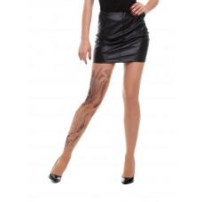Телесные колготки Koi Fish с имитацией черной татуировки