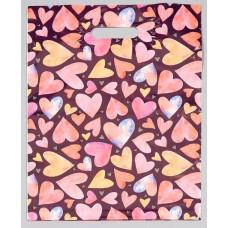 Подарочный пакет с сердечками - 31 х 40 см.