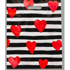 Полиэтиленовый пакет  Красные сердечки  - 31 х 40 см.