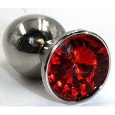 Серебристая гладкая анальная пробка с красным кристаллом - 7 см.