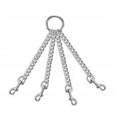Четыре серебристые цепи с карабинами на кольце