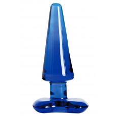 Синяя стеклянная анальная втулка - 11 см.