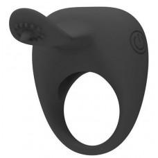 Чёрное эрекционное кольцо с вибрацией и клиторальным язычком