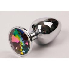 Серебряная металлическая анальная пробка с радужным стразиком - 8,2 см.