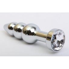 Серебристая анальная ёлочка с прозрачным кристаллом - 11,2 см.