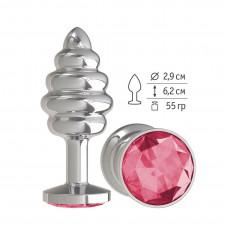 Серебристая пробка с рёбрышками и малиновым кристаллом - 7 см.