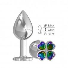 Средняя анальная втулка Silver Клевер с разноцветным кристаллом