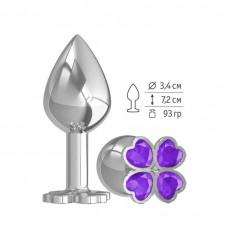 Средняя анальная втулка Silver Клевер с фиолетовым кристаллом