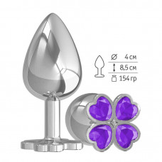 Большая анальная втулка Silver Клевер с фиолетовым кристаллом