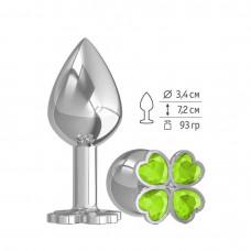 Средняя анальная втулка Silver Клевер с салатовым кристаллом