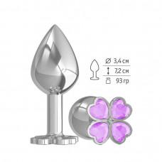 Средняя анальная втулка Silver Клевер с сиреневым кристаллом