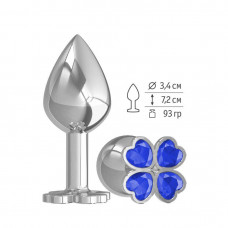 Средняя анальная втулка Silver Клевер с синим кристаллом